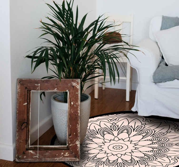 TenStickers. 视觉效果圈地毯几何地毯. 美观且美观的圆形地毯地毯非常实用,是厨房的完美解决方案。现在购买。