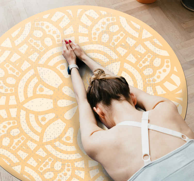 TenStickers. Beige circle vinyl rug nordic style rugs. This round yellow vinyl carpet is a perfect solution for the kitchen because it is so practical. It is non-slip, can be made to your wishes.