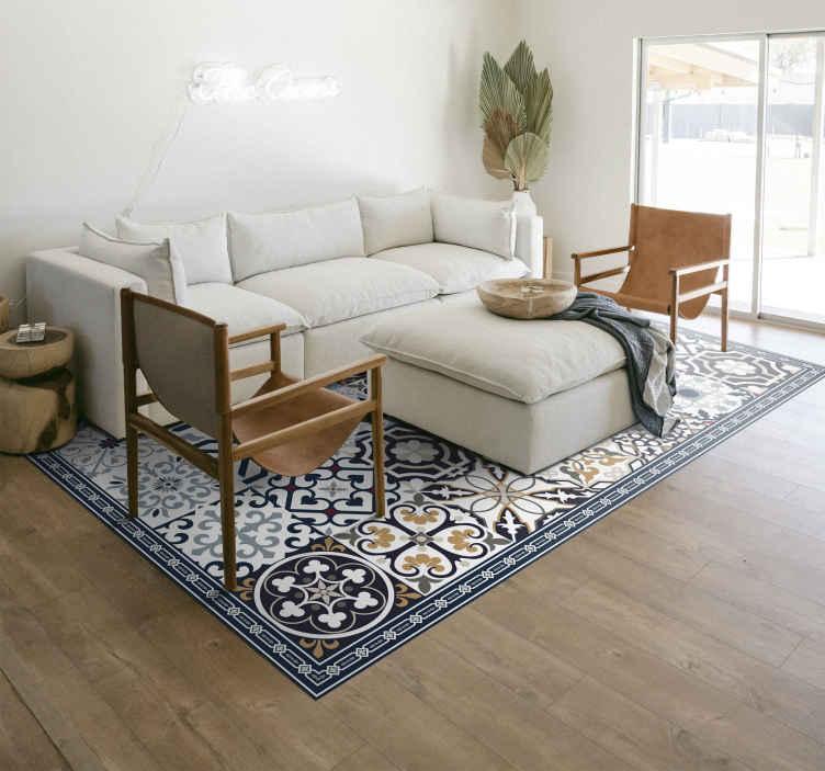 TenStickers. цементный узор кафельный коврик. Подходит декоративный напольный виниловый ковролин для кухни и других площадей. ковер содержит различные стили орнаментального узора в формах плитки.