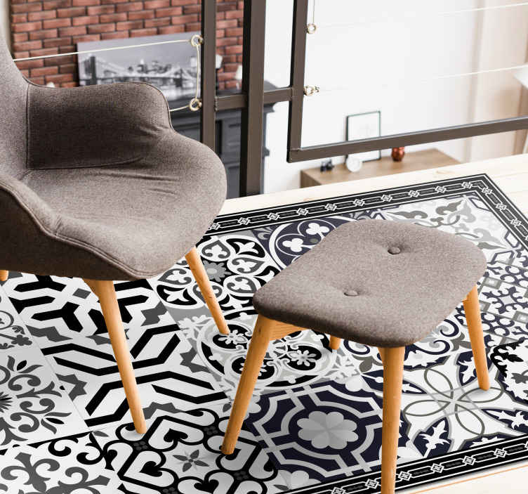 TenStickers. Black cement tails tile mat. Black and white colour vinyl carpet. A carpet with a rich tone ornamental patterned flower design to present your space with classic effect.