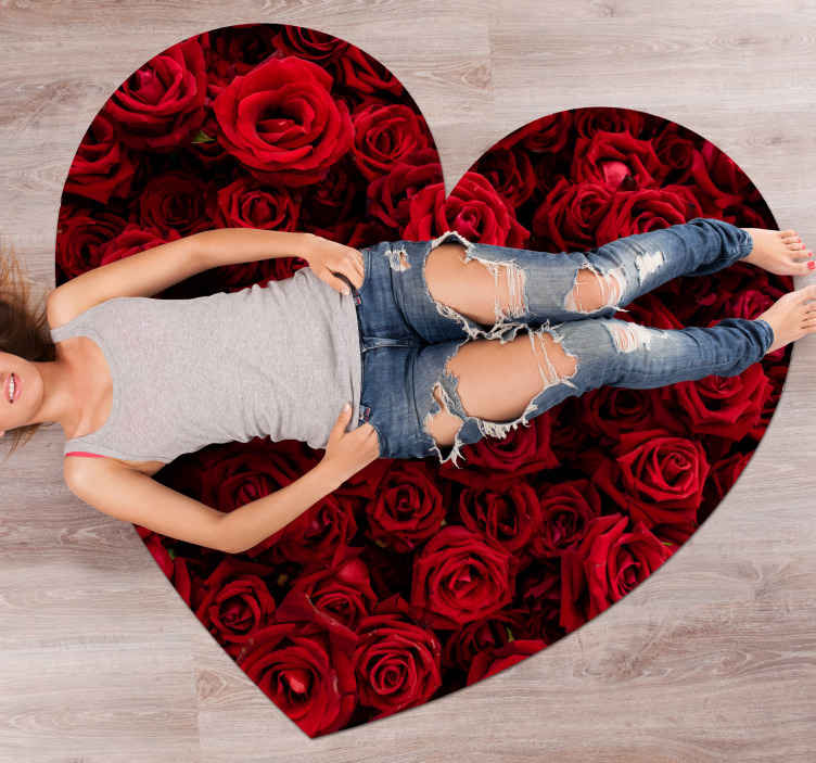 TenStickers. Heart filled with Roses  flower vinyl rug. This flower vinyl rug is in the shape of a heart and is filled with stunning red roses. Anti-bubble vinyl. High quality.