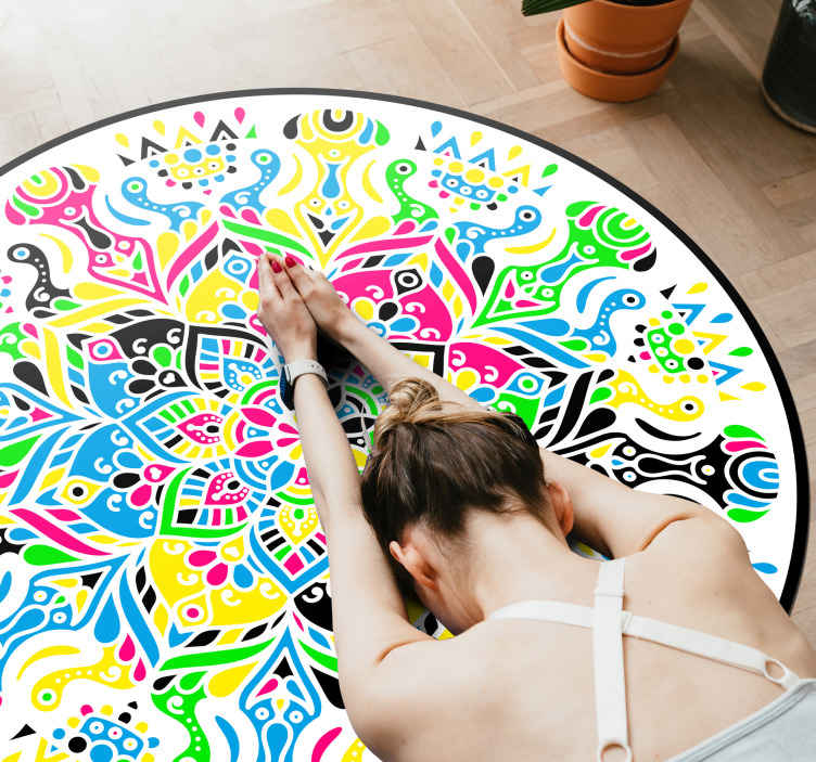 TenStickers. Colorful mandala bedroom vinyl carpet. Decorative and colorful mandala bedroom vinyl carpet. The carpet is designed with multicolored patterned mandalas and other tribal impressions.