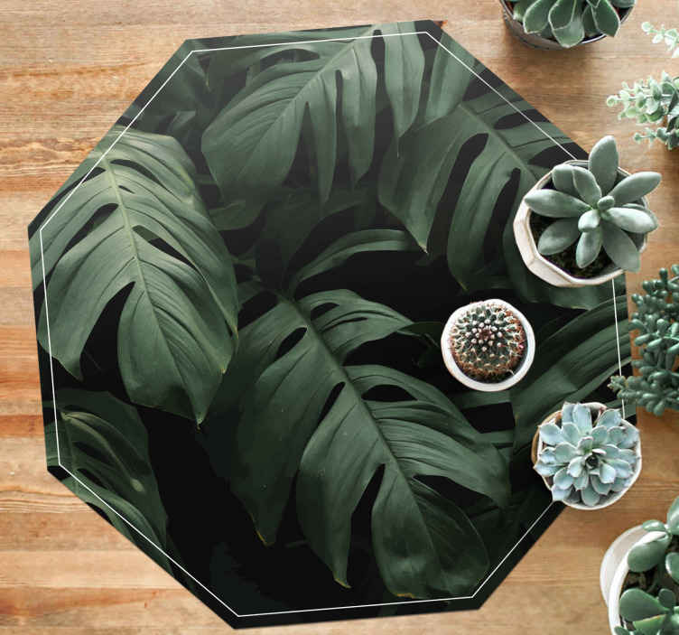 TenStickers. Monstera leaves flower rug. Realistic monstera leaves vinyl carpet to place the feel of peaceful and soothing nature's feeling on your space. Easy to maintain.