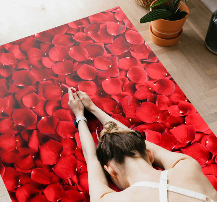 TenStickers. Red roses  flower rug. Special fantasy Red roses colorful design. It is presented with the designs of the original painting, perfect for decorating your home
