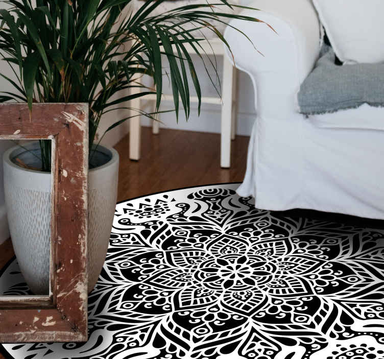 TenStickers. Black and white mandala mandala mat. Special fantasy Black and white mandala colorful design. It is presented with the designs of the original painting, perfect for decorating your home