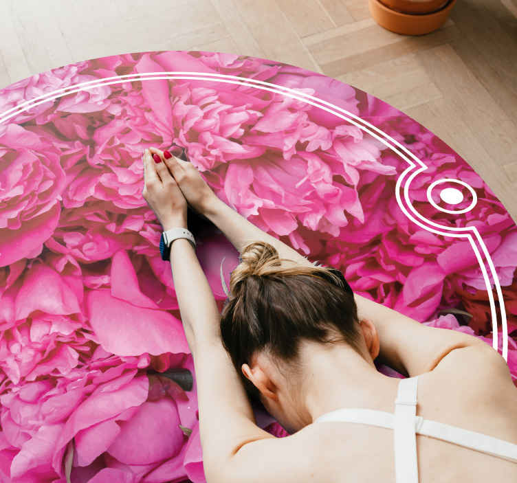 TenStickers. Peonies flower rug. Round-tip vinyl carpet in pink colour. The carpet has the design of  Peonies floral with an amazing appearance. The size is customizable to your need.