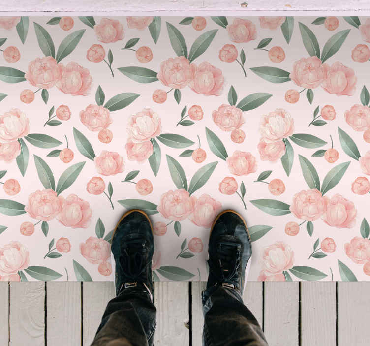 TenStickers. Pink flowers flower rug. washing it in a simple way will leave it very clean and leave you able to enjoy it in perfect condition. Add it to your cart now!
