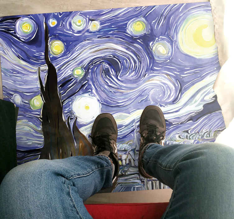 Tenstickers. Van goghs himmel med stjerner retro teppe. Spesiell fantasy retro design von gogh tegning skisse design. Den presenteres med designene til det originale maleriet, perfekt for dekorering