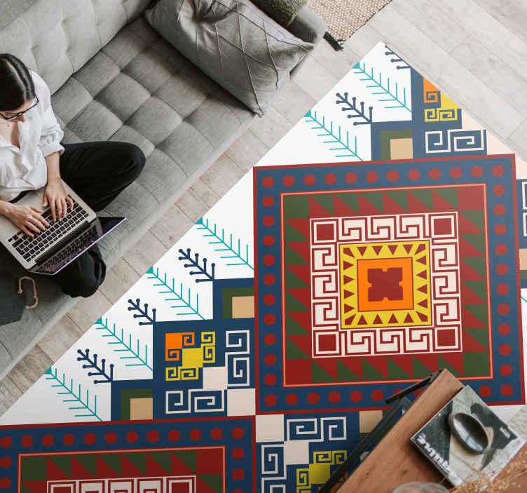 TenStickers. Tappeto in pvc mosaico Motivo etnico geometrico. Tappeto in vinile a mosaico geometrico etnico. Copri una parte del tuo pavimento con questo tappeto in vinile dal design intricato e guarda l'effetto.