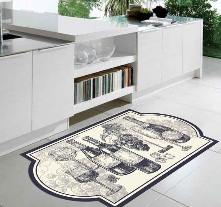 TenStickers. Bottles of Wine kitchen vinyl rug. Kitchen vinyl rug which features a drawing of various bottles and glasses of wine as well as a bunch of grapes. Extremely long-lasting material.