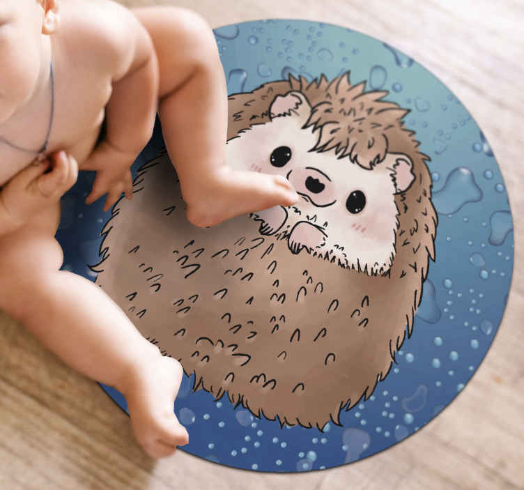 TenStickers. Adorable Hedgehog animal mat. Animal vinyl rug which features a cute drawing of a hedgehog smiling. Made from the finest quality materials. Highly durable.