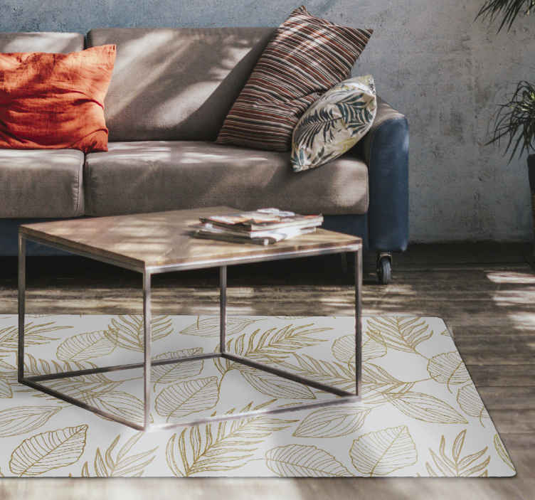 TenStickers. White and Golden Leaf vinyl rug. Leaf vinyl rug which features a lovely pattern of golden leaves, all in different shapes and sizes. High quality material.