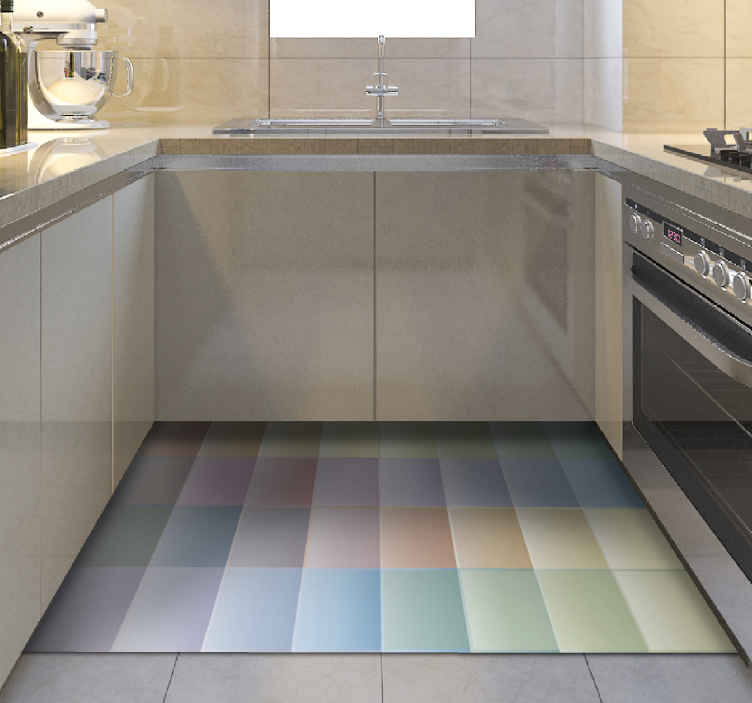TenStickers. Multi-coloured Tile vinyl rug. Kitchen vinyl rug which features a pattern of tiles all in different colours of the rainbow. Choose your size. High quality.