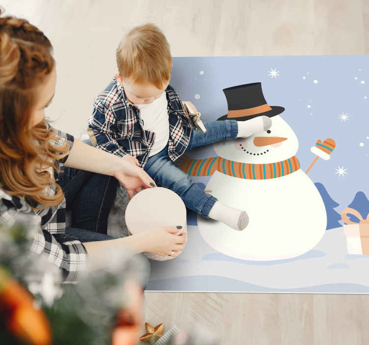 TenStickers. Snow man  Christmas rug. A wonderful snowman vinyl rug to put a huge smile on your kid by decorating this room with this wonderful cute vinyl rug.