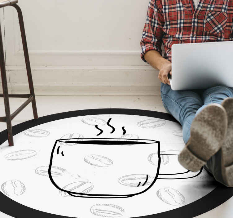 TENSTICKERS. 白い背景のキッチンの床にコーヒーのcuo. コーヒーカップが見えるユニークな円形のビニールラグ。言うまでもなく、この製品は高品質の素材で作られています。