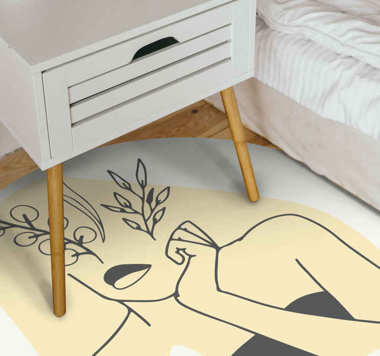 TenStickers. women elegant line art style contemporary rugs. Take a moment to look at this stunning bedroom rug ! you can also count on the great quality of our material. Add it to your cart now!
