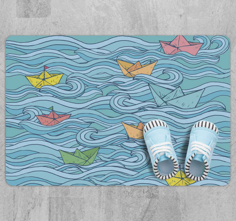 TenStickers. Little paper boats kids vinyl carpet. Little paper boats kids vinyl rug suitable for children floor space. The host a design depicting a sea wave with boats sailing on it.