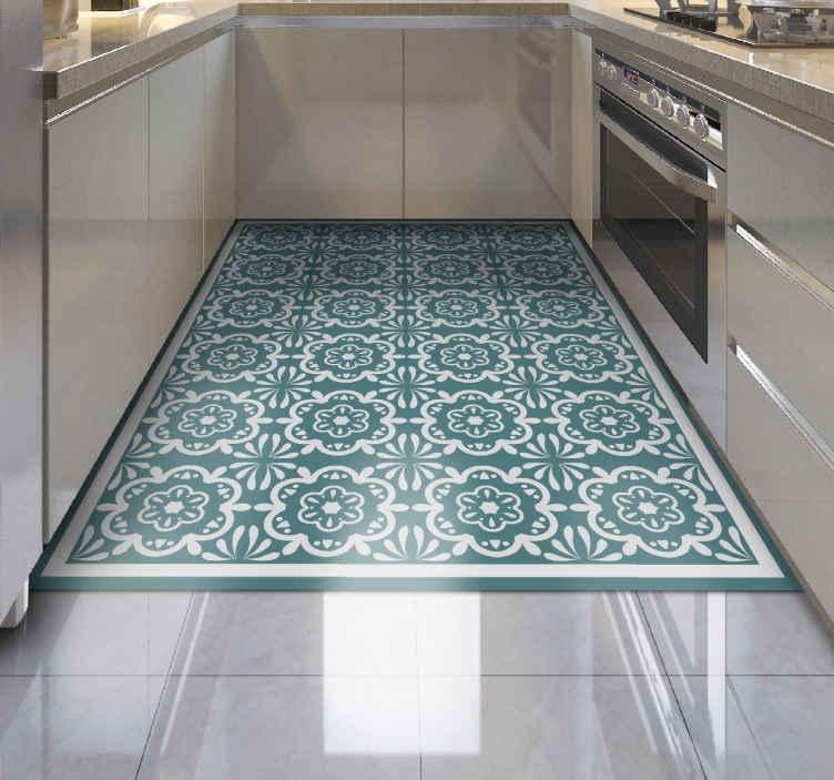 TenStickers. Tappeto in vinile cucina Fiori blu. Dai colore e vita alla tua cucina con questo spettacolare tappeto in vinile con fiori blu. Fabbricato con i migliori materiali di qualità sul mercato.