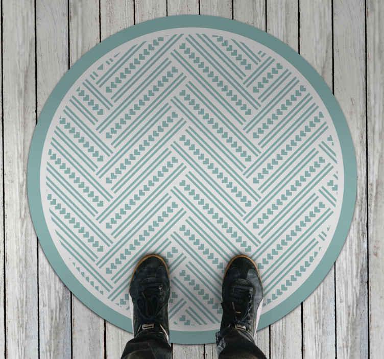 TenStickers. 交叉线当代地毯. 请仔细看一下这种华丽的绿色交叉纹乙烯基地毯。它由令人难以置信的高质量乙烯基制成。