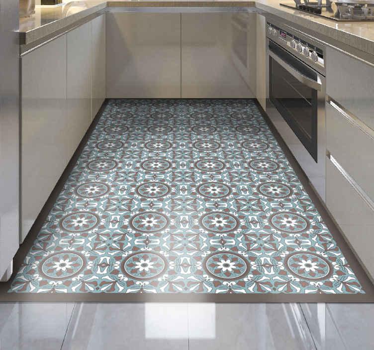 TenStickers. Tappeto in vinile cucina Turchese arabo. Questo splendido pavimento in vinile per cucina rappresenta la migliore soluzione per portare nella tua casa qualcosa di veramente unico e bello!