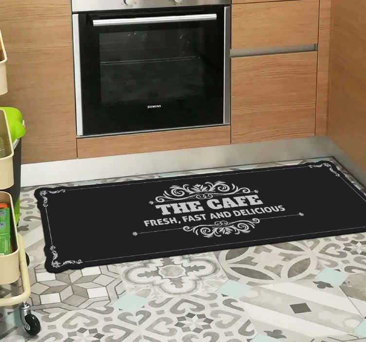 TenStickers. Os tapetes feitos sob medida do café. Incríveis ladrilhos de cozinha com um produtoexclusivo que vão melhorar a decoração da sua casa. é antiderrapante e de longa duração.