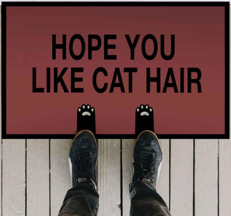 """TenVinilo. Alfombra vinílica frase espero que ames los gatos. Alfombra vinílica entrada presenta el texto """"espero que te guste el pelo de gato"""" sobre un fondo rosado ¡Compra online ahora!"""