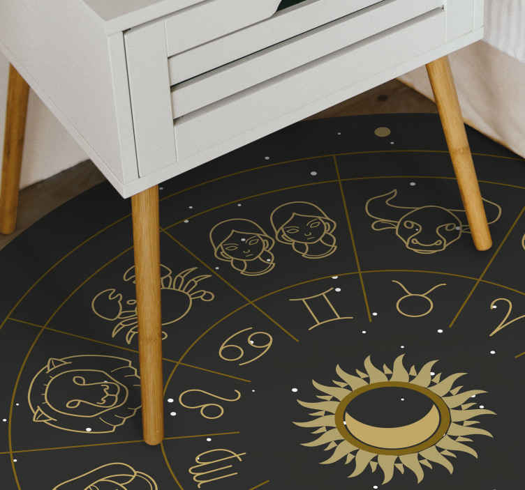 TenStickers. Mandala Zodiac signs  contemporary rugs. Nice mandala zodiac signs vinyl carpet perfect to put in a salon in your house. If you are looking for a cute decoration for your home.