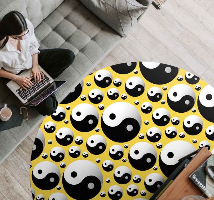 TenStickers. Round vinyl carpet yin yang circles ethnic style rugs. This beautiful living room sticker flooring will look spectacular in your living room and add color and life to decorating your favorite spaces