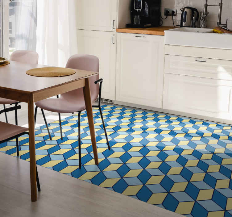 TenStickers. Vinyl rug kitchen 3D effect geometric carpets. Our products are made with the best quality materials and are very durable. You can place this cubic pattern sticker rug in a kitchen.