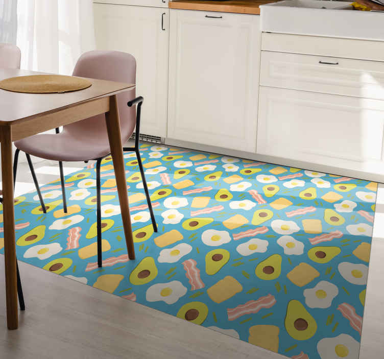 TenStickers. Vinyl rug kitchen avocado and egg contemporary rugs. Kitchen Rug is a perfect solution for the kitchen or living room because it is so practical.  his project shows a nice design in great colors