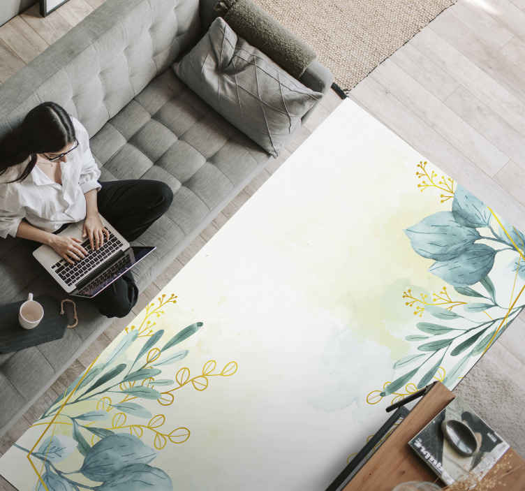 TenStickers. Living room floral rug flower rug. Realistic living room vinly flooring leaves the carpet as a sticker to place the feeling of peaceful and calming nature in your space.