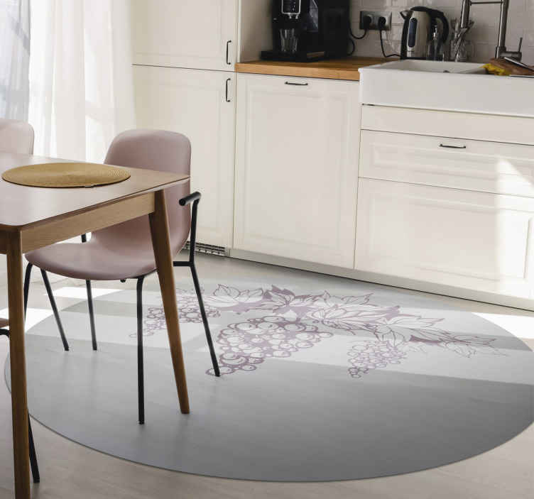 TenStickers. Retro grapes nature carpet. A pretty rug in retro grapes sticker to decorate your room. It is printed on a round shape and has the moon in the middle with grapes.