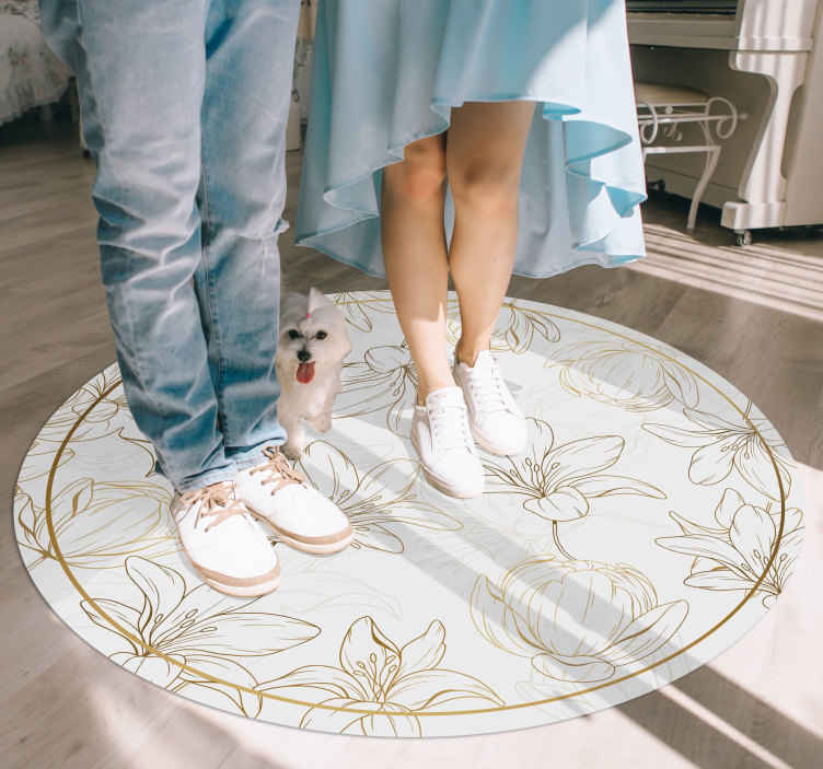 TenStickers. golden flowers flower rug. Fantastic Vinyl rug super golden flowers patterns, which can be mounted inexpensively in stickers for your living room..