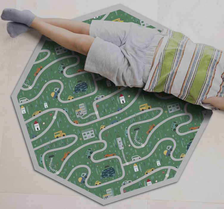 TenStickers. roads road mat. Fantastic Vinyl rug super colorful squares patterns, which can be mounted inexpensively in stickers for your living room.