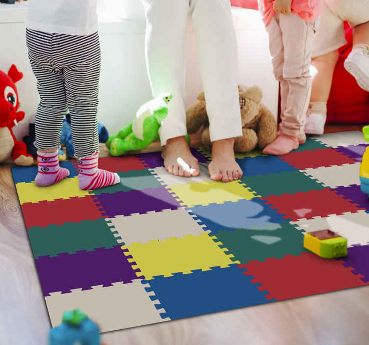 TenStickers. colourful squares kids vinyl carpet. Fantastic Vinyl rug super colorful squares patterns, which can be mounted inexpensively in stickers for your living room.