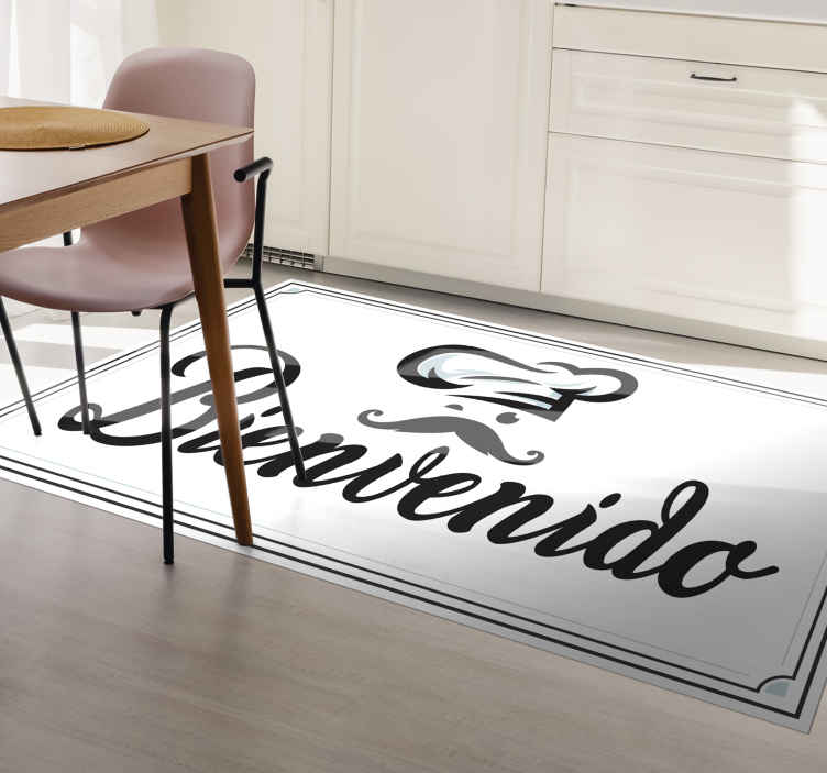"""TenStickers. Vinyl rug kitchen welcome bespoke rugs. Perfect entrance mat in sticker for Italian chefs! these fantastic stickers feature the text """"bienvinido""""  with the design of an italian chef."""
