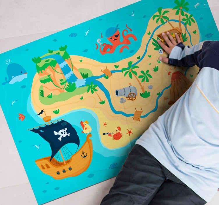 TenVinilo. Alfombra vinilo juegos infantiles mapa pirata. ¿Has participado alguna vez en una búsqueda del tesoro? ¡Ahora tienes la oportunidad de decorar tu hogar con esta alfombra vinílica infantil!