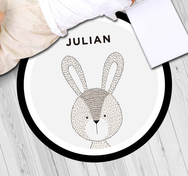 TenStickers. Customizable vinyl rug rabbit personalised vinyl rug. A wonderful way to make your child feel special with this personalized rabbit vinyl rug for kids. It will last years in your kid's room.
