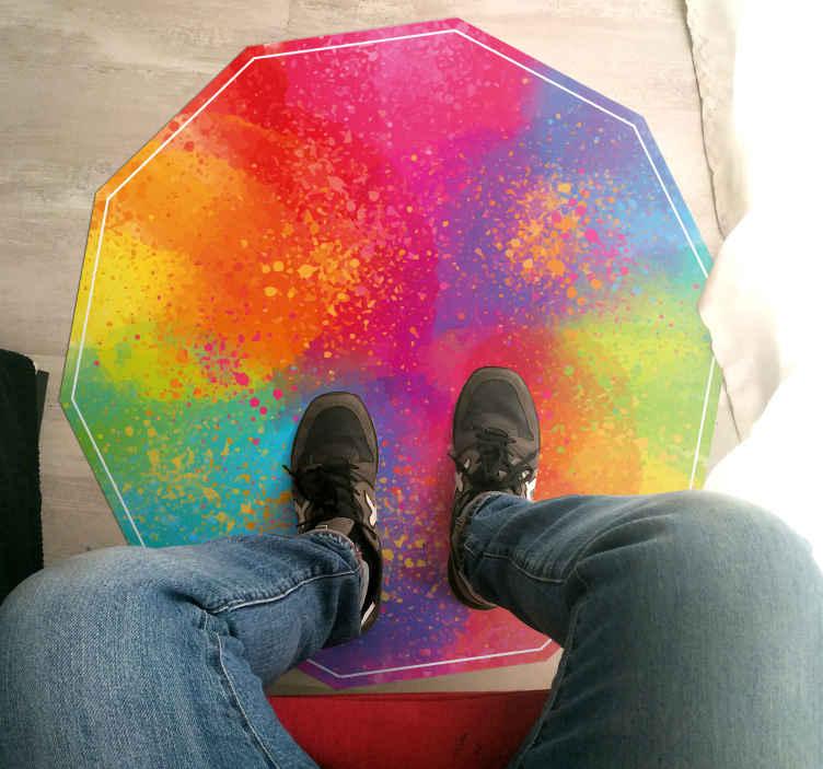 TenVinilo. Alfombra vinilo vintage explosión de colores. ¡Decora cualquier estancia de tu hogar con esta alfombra vinilo vintage multicolor! Diseño con colores cálidos y brillantes ¡Envío express!