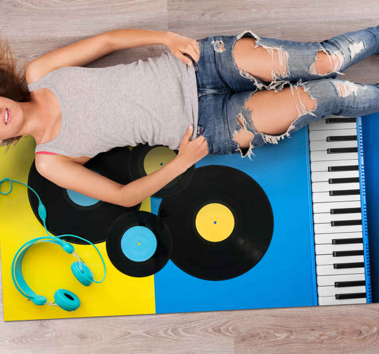 TenStickers. Piano and records contemporary vinyl rugs. Contemporary vinyl rugs with piano and  stereo record disc. Lovely design that any music lover or enthusiast would love on a bedroom floor space.