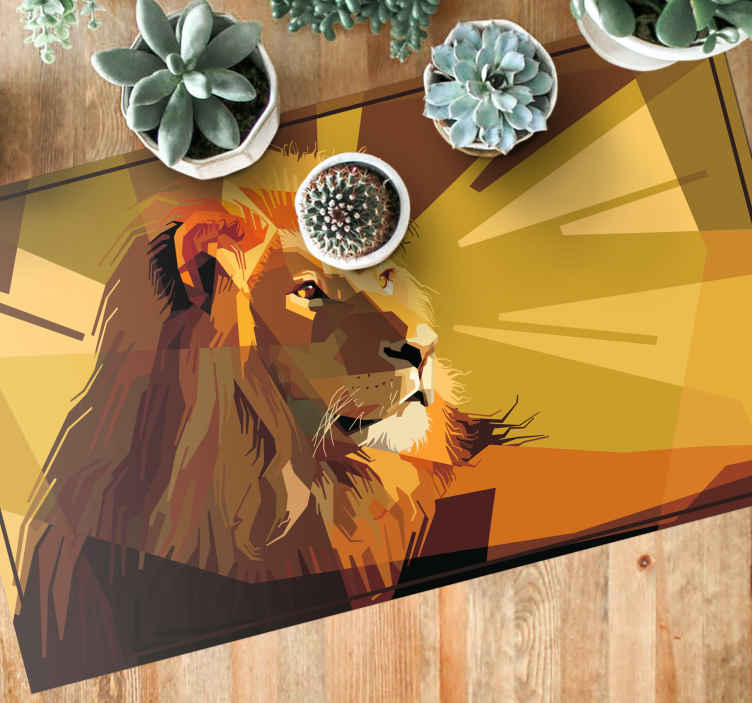 TenStickers. Vinyl rug for living room lion drawing animal mat. Realistic geometric textured drawing of lion vinyl carpet. A carpet that fits well for a living room floor and any special floor spaces.