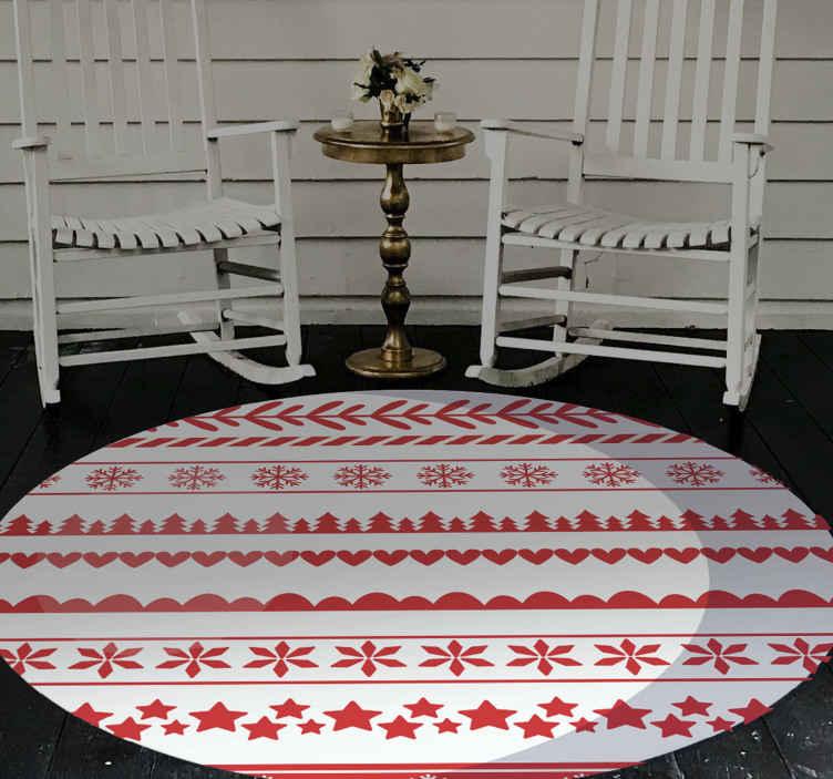 TenVinilo. Alfombra vinílica redonda patrón navidad rojo. Alfombra vinílica redonda navideña que presenta un patrón rojo y blanco de temática navideña con estrellas y copos ¡Envío exprés!