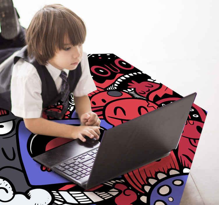 TenStickers. Tapetes adolescentes graffiti legais para quartos. Tapete vinil graffiti vermelho, perfeito para decorar o quarto dos seus filhos com um toque colorido. Vinil de alta qualidade, fácil de limpar. Confira.