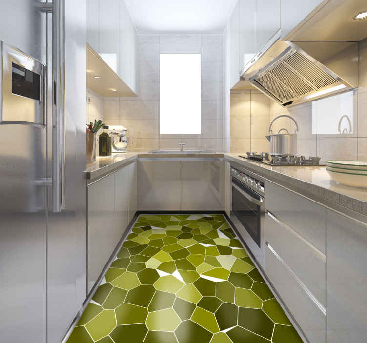TenStickers. Green mosaic stones contemporary rugs. Vinyl rug with green mosaic tiles, great for decorating your kitchen. Easy to clean and store. Made of high quality vinyl.