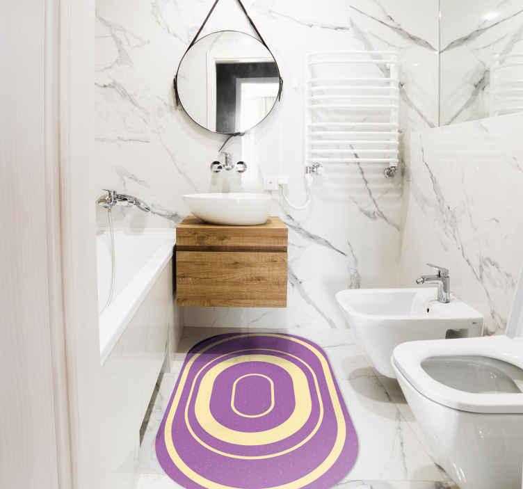 TenVinilo. Alfombra vinílica baño ovalada morada. Hermosa alfombra vinílica para baño de color morado para embellecer tu baño con un toque de lujo. Elige medidas ¡Envío exprés!