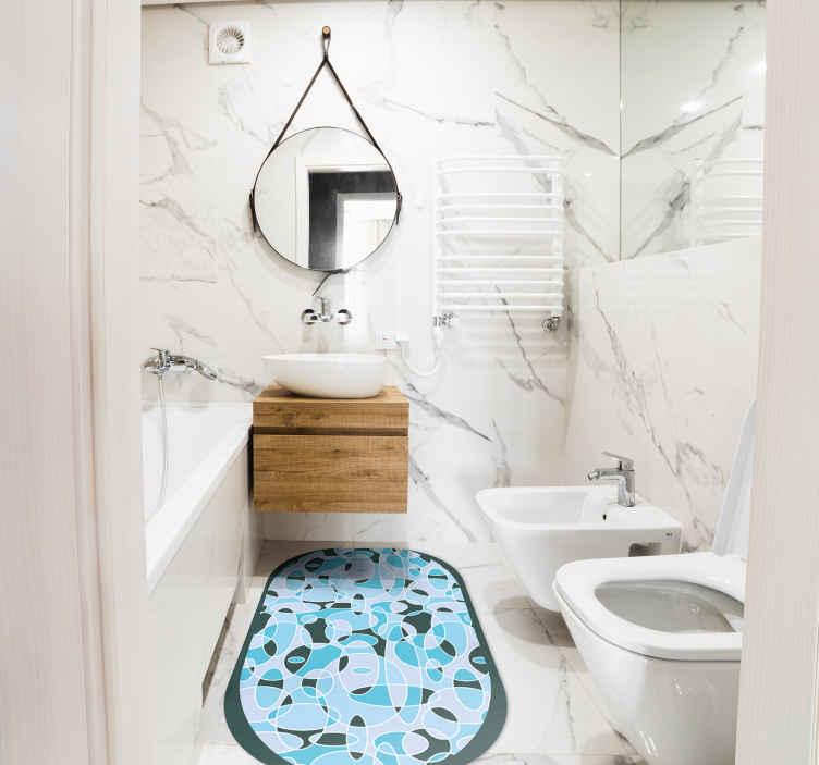 TenVinilo. Alfombra vinílica baño ovalada azul. Exclusiva alfombra vinílica baño ovalada azul para decorar el suelo de tu baño con un toque de lujo ¡Descuentos disponibles!