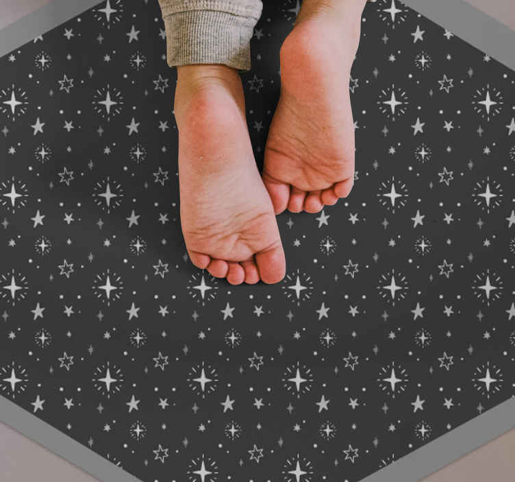 TenStickers. Washed grey childrens stars carpet. Washed grey stars children room rug. A carpet containing space elements like stars and moon designs. Original, durable and available in any size .