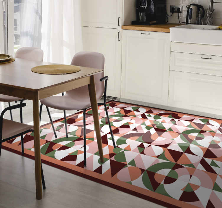 TenStickers. Geometric colourful Print geometric carpets. Geometric colorful print geometric vinyl rug. Suitable for hallway, kitchen and other floor space of your choice. Original, durable and easy to clean.
