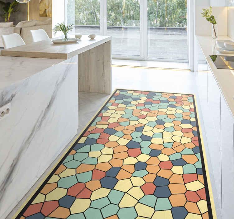 TenVinilo. Alfombras vinílica hidráulica mosaico colorido. Alfombra vinílica geométrica de colores para el suelo de la cocina o la entrada. Elige el tamaño que prefieras ¡Descuentos disponibles!