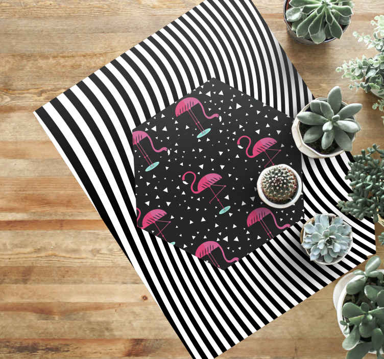 TenStickers. Flamingos and Zebras animal mat. A modern living room vinyl glooring carpet sticker with zebra  stripes and flamingo . This product is sure to brighten up any space you choose!